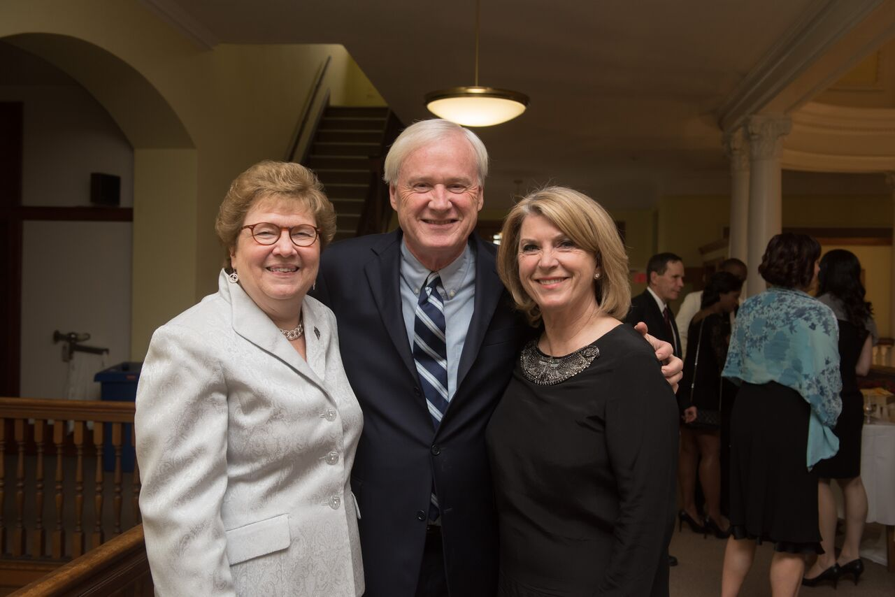 Sister Carol Jean Vale, Ph.D., poses with Chris and Kathleen Matthews prior to the gala.