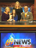 From left: Host Eve Russo, daughter, 8-year-old Ava, Caitlin, and host Jaciel Cordoba.