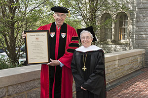 "Pictured with Kathy Duffy, Ph.D., SSJ, John Haught, Ph.D., 2016 CHC Honorary degree recipient and distinguished research professor at Georgetown University, will present his lecture, ""How Much Can Biology Explain? Charles Darwin and Bernard Lonergan, SJ"" on October 8, 2017."