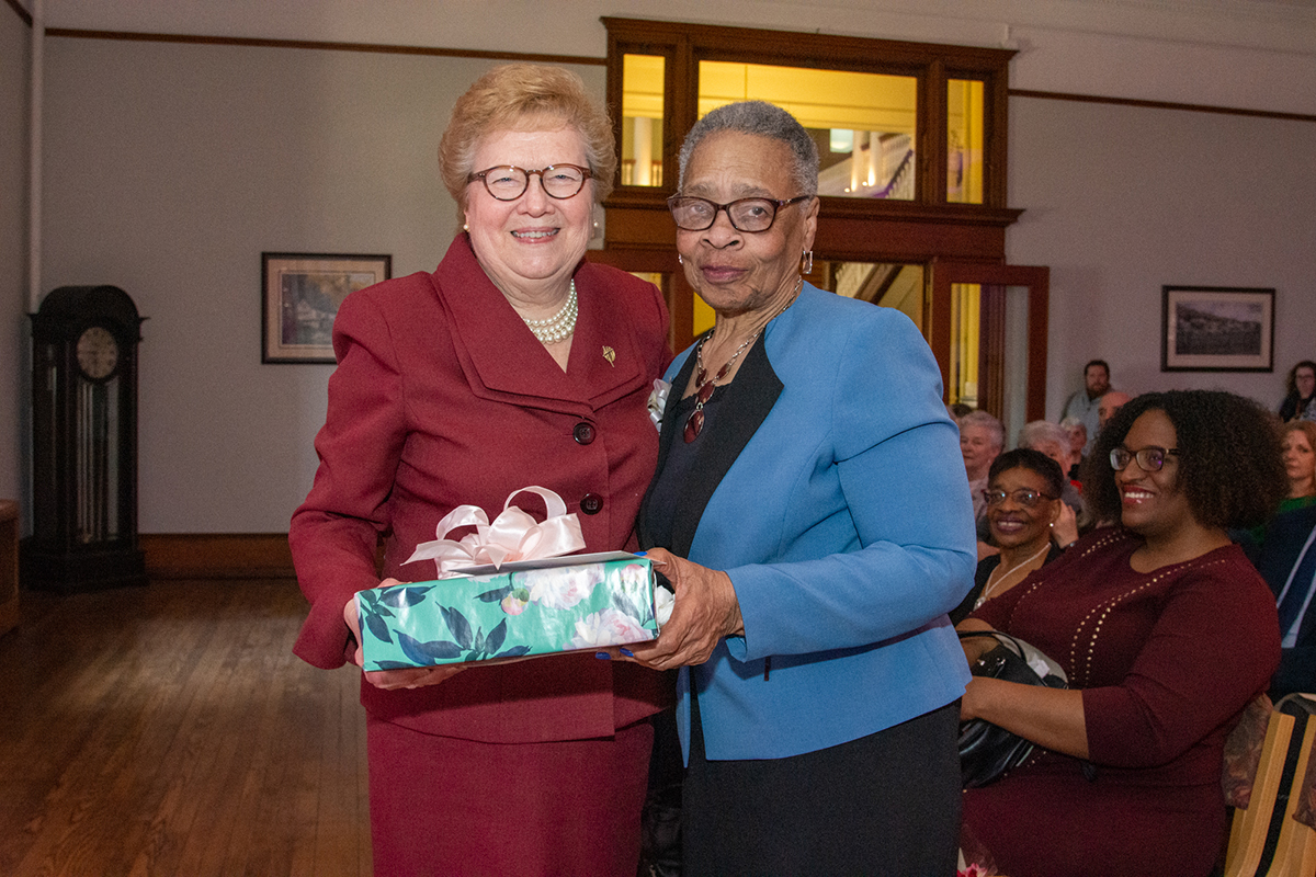 Sister Carol with Miss Shirley, who is retiring after 21 years of service to the College.