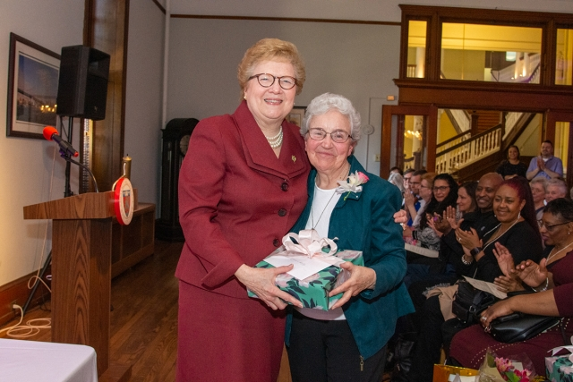 Sister Carol with Sister Kathy Duffy, who is retiring after 30 years of service to the College.