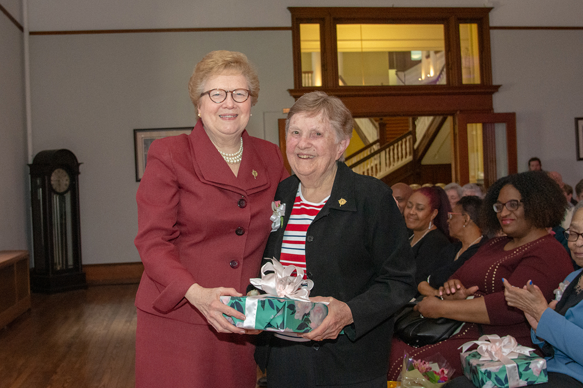 Sister Carol with Sister Barbara Glennon, who is retiring after 47 years of service to the College.