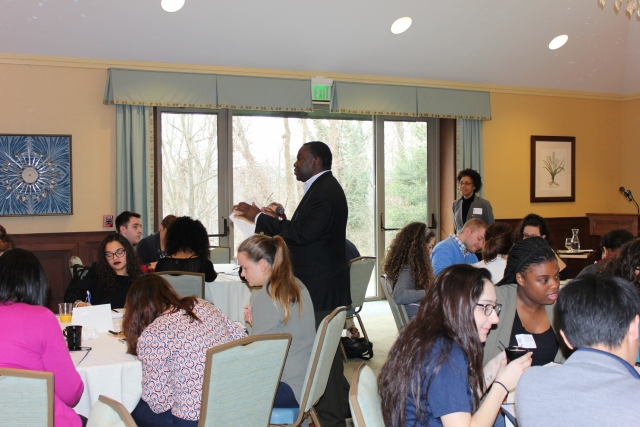 Maurice Hall, Ph.D., led the workshop, which focused on open dialogue and conversation relating to diversity and inclusion on college campuses.