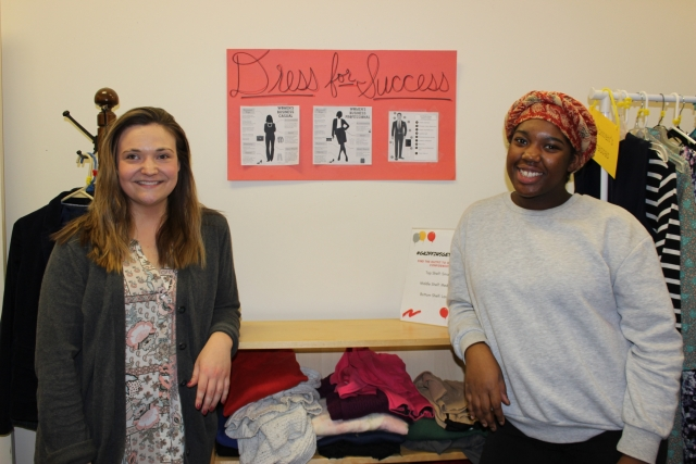 Junior Amanda Vital and graduate student Carrie Skrzat at Chestnut Hill College's Career Closet. (Photo by Margaret Terzieva)