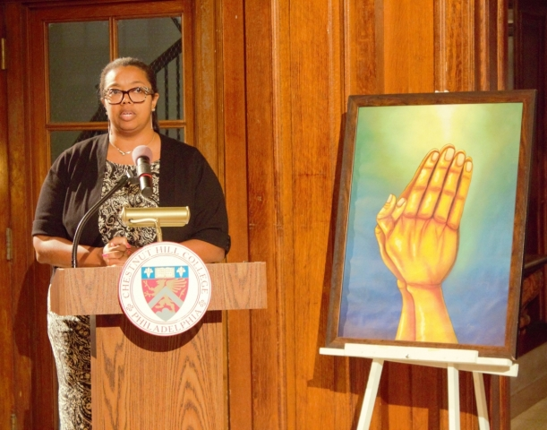 Juliana Mosley, Ph.D., the college officer for the Office of Diversity and Inclusion, delivering remarks at the dedication ceremony for the Interfaith Prayer Room. (Photo by Marilee Gallagher)