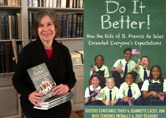 "Judy Stavisky, M.Ed., SGS '91, with the book she co-authored, ""Do It Better!: How the Kids of St. Francis de Sales Exceeded Everyone's Expectations."""