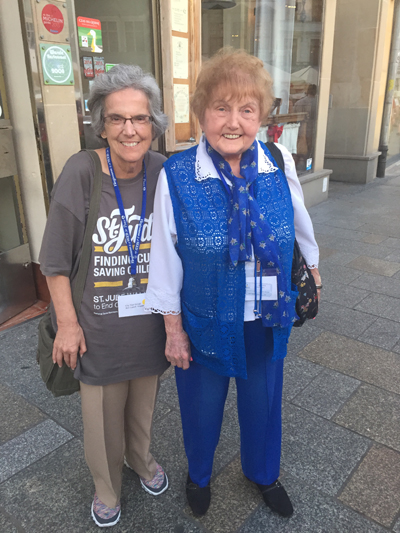 Marie Conn, Ph.D., poses with Eva Kor on their recent visit to Auschwitz.