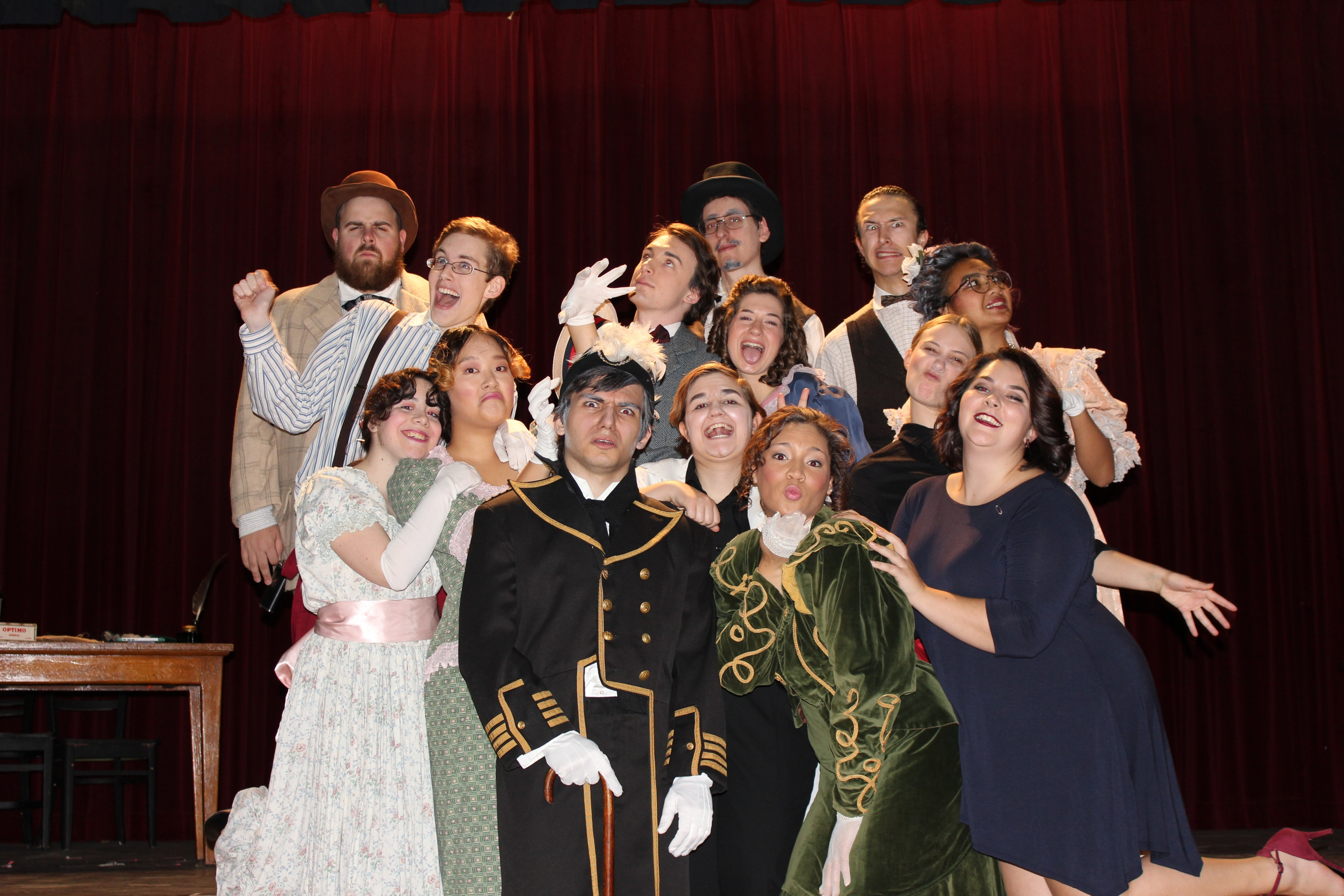 "Cast members of ""The Matchmaker"" ham it up prior to their opening night performance."