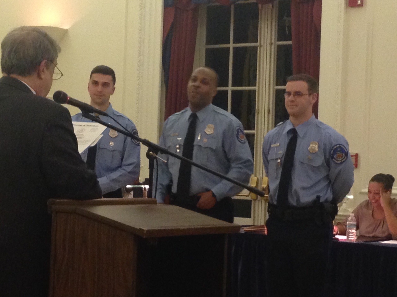 Joseph Long '16 (right) sworn in as an auxiliary officer for the Cheltenham PD.