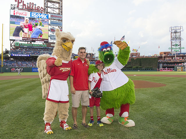 L to R: Big Griff, Austin DiBonaventure '16, Owen Frenia and the Phillie Phanatic