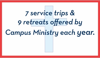 7 service trips & 9 retreats offered by Campus Ministry each year.