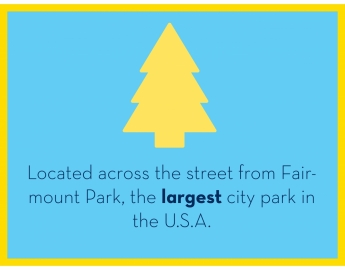 Located across the street from Fairmount Park, the largest city park in the U.S.A.