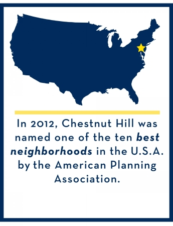 In 2012, Chestnut Hill was named one of the ten best neighborhoods in the U.S.A. by the American Planning Association