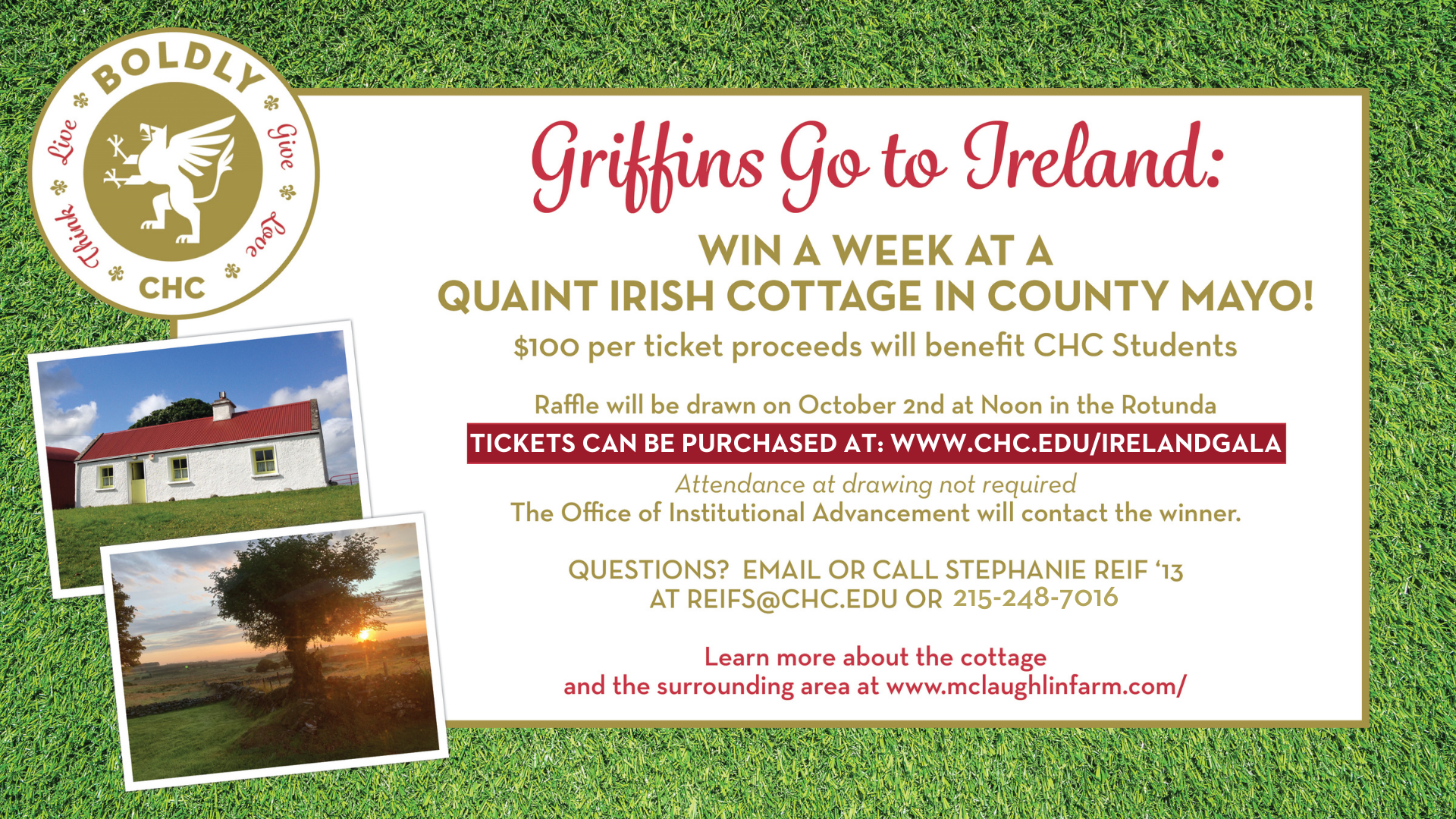 Griffins Go to Ireland - Win a week at a quaint Irish Cottage in County Mayo!