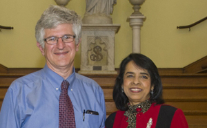 Paul Offit, M.D., stands with Lakshmi Atchison, Ph.D., professor of biology and director of the Biomedical Distinguished Lecture Series.
