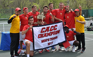 The men's tennis team poses with the CACC Championship trophy.