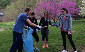 Members of the Green Team help spruce up campus for Earth Week.