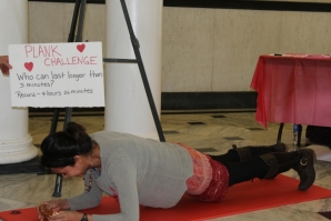 Students, faculty and staff took part in a plank challenge where the goal was to perform the exercise for as long as possible.