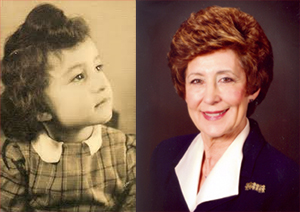 Ruth Kapp Hartz as a child and today.