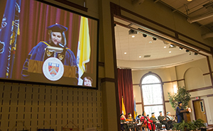 Abigail Palko, Ph.D., '96, director of the Maxine Platzer Lynn Women's Center at the University of Virginia, offers the Convocation address.