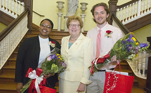Michaiah Young '17, winner of the Dorothea E Fenton '28 Memorial Award, and Andrew Conboy '18, winner of the St. Catherine Medal, join Sister Carol after Convocation.