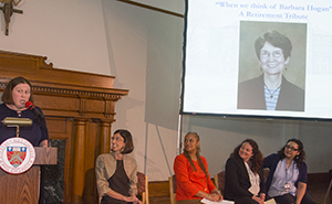 Amy Antrim led a tribute for Barbara Hogan in which her faculty colleagues shared wonderful stories and memories.