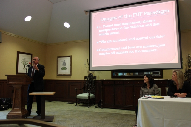 "Psychology professor Scott Browning, Ph.D., ABPP, speaking at ""An Evening With the Experts"" on May 3 at SugarLoaf. (Photo by Margaret Terzieva)"