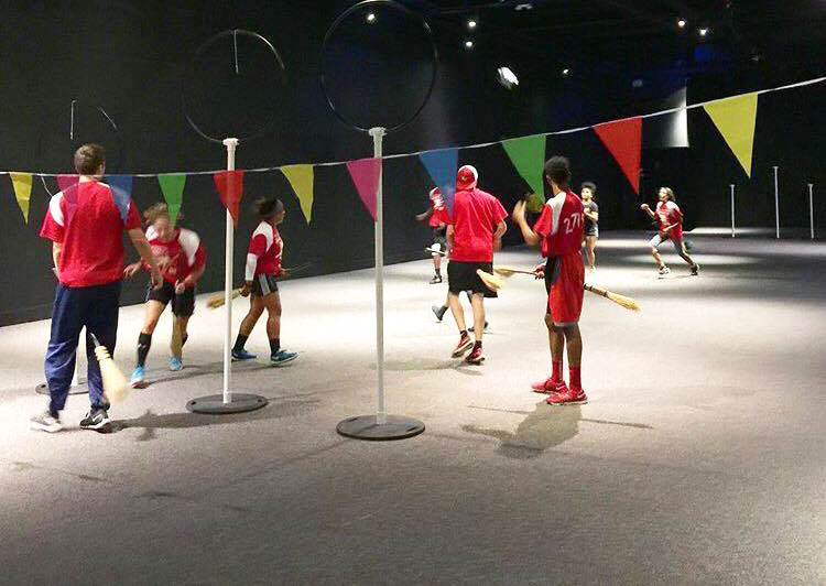 CHC's Quidditch team took part in several demonstration games during the Wizard School event. Photo credit: Elena Ramos '16