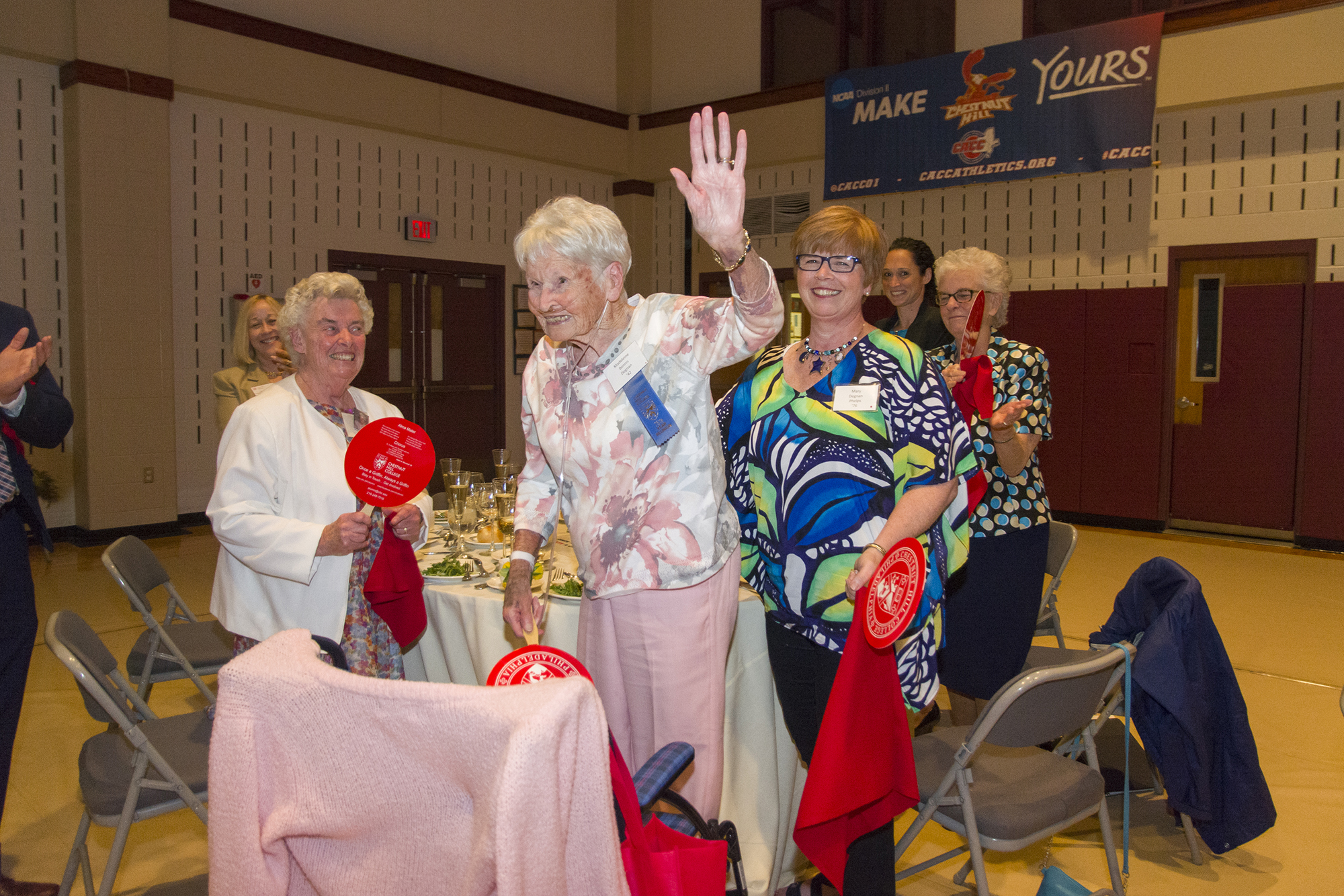 Madeleine Bennis Degnan, Class of 1942, celebrated her 75th class reunion, thanking the crowd with a wave and a smile.