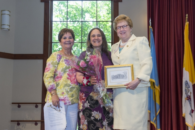 From L to R: Margo Mongil-Kwoka, alumni association board president, Ritamarie Moscola, M.D., M.P.H. '78, and Sister Carol Jean Vale, Ph.D, president of the College
