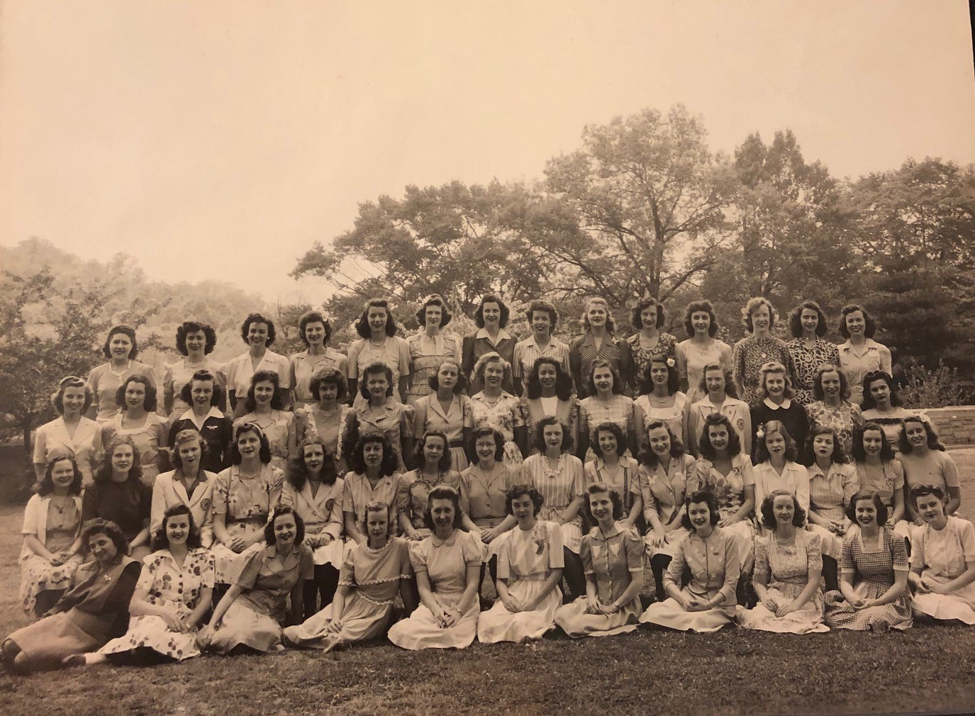 The Class of 1944, pictured as freshmen, with Shirley (top row, second from left) and Mary Agnes (second row, sixth from right). Photos courtesy of Lois Perch Villemaire.