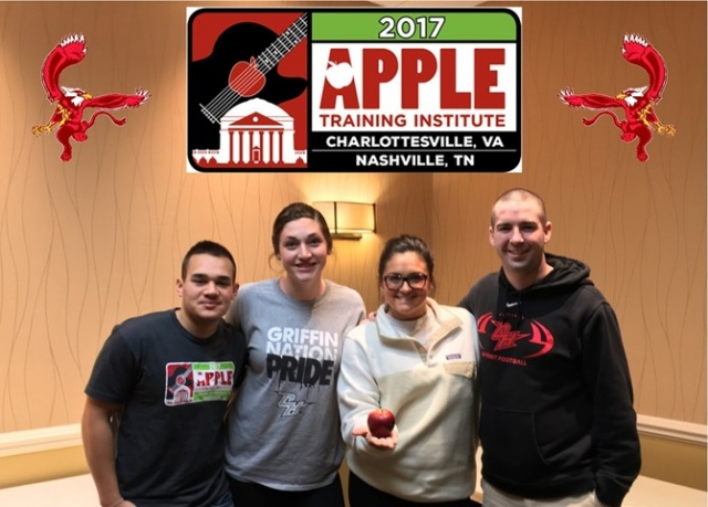 Griffins at APPLE Conference (1/12/17), L to R: Devan Martinez, Samantha Gelfan, Peyton Reno, and Kevin Clancy