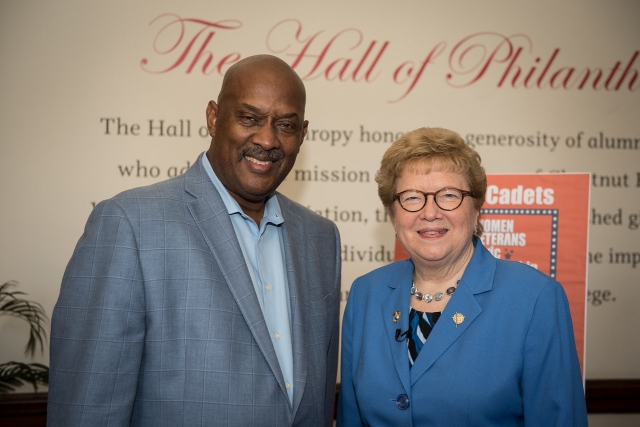 "U.S. Rep. Dwight Evans pictured with College President Carol Jean Vale, SSJ, Ph.D., at ""Stand Up, Be Counted"" on Sept. 28. (Photo by Amber Johnston)"