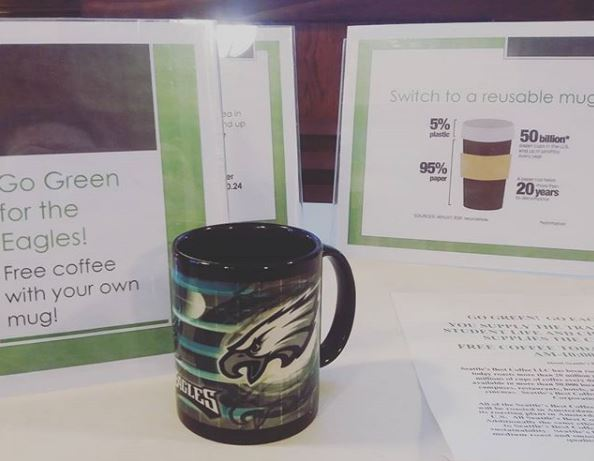 The 'Bring your Own Mug' coffee event allowed members of the campus community to learn about the important and cost-saving measures of going green.