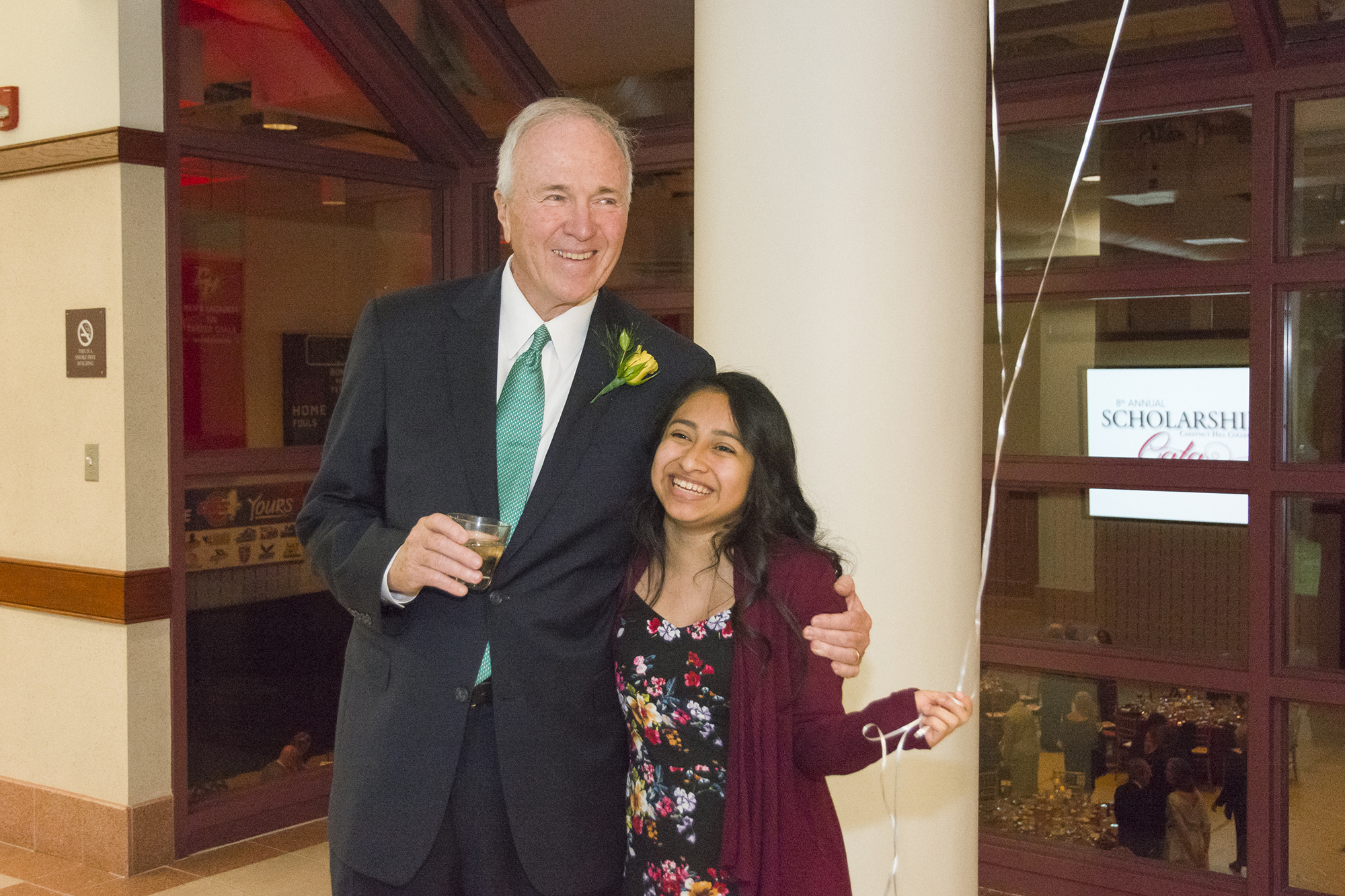 James Gallagher, Ph.D., and Carolina Perez '20, recipient of the James P. & Anne Gallagher Endowed Scholarship, are all smiles at the Gala.