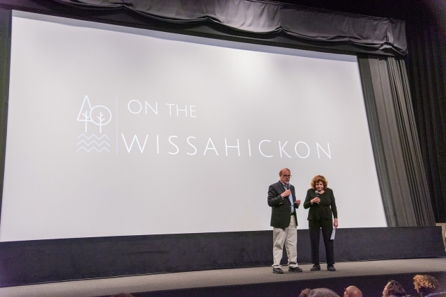 David Contosta and Carol Franklin speaking at the Ambler Theater on May 14. (Photo by Linda Johnson)