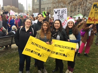 CHC students marching in Philadelphia on January 21. From left: Alley Thomas, Giuseppe V. Galantuomo, Miranda Alli, Brianne Lindline and Brigid MacArthur-Thompson.