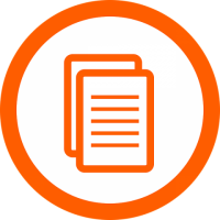 Orange circle with document in center