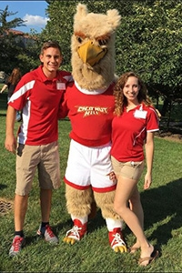 Posed with College mascot, Big Griff, orientation coordinators, Julia Phifer and Andrew Hildebrand, led a weekend full of activities for students in the class of 2020
