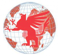 Red and White Globe with Griffin