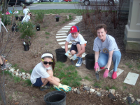 Norwood Fontbonne Students plant  with Sister Margie Lawless.