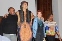 Sharon Katz and her Peace Train band members introduce themselves to the audience before their set.