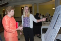 Eberly explains her senior seminar project to Sister Carol Jean Vale.