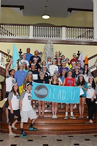 Students from the Lead U program, one of the many summer camps hosted by CHC each year, pose in front of the Rotunda stairs at the conclusion of their event