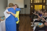 Janice Kuklick, M.Ed., says goodbye to Sister Carol after 39 years at the College.