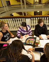 Students studying in rotunda