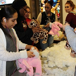 """Students stuff and create their own """"creatures"""" at SAO's most recent Fun-At-One event."""