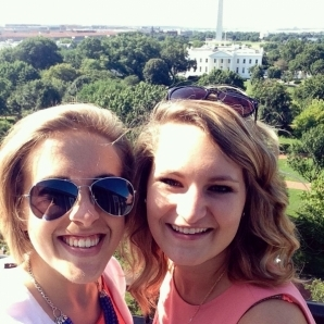 Leeann Burke '16, left, poses with fellow intern, Emma, on top of the Hays Adams Hotel in Washington, D.C.