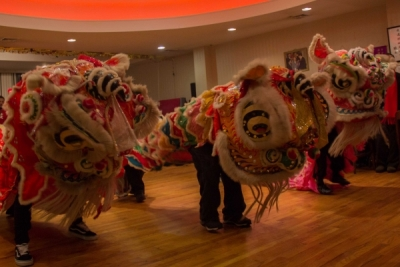 Lion dancers celebrating Chinese New Year