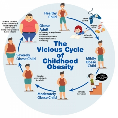 Chart implying that childhood obesity works on a negative feedback loop